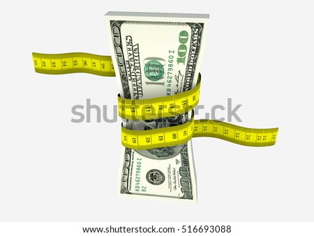 piles of 3D Rendered American money with with yellow measure tape isolated on white background