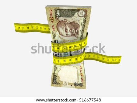 piles of 3D Rendered Indian money with with yellow measure tape isolated on white background