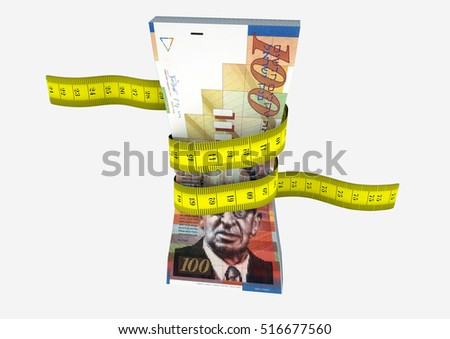 piles of 3D Rendered Israeli money with with yellow measure tape isolated on white background