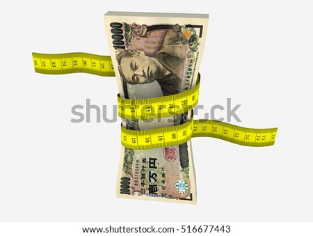 piles of 3D Rendered Japanese money with with yellow measure tape isolated on white background