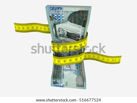 piles of 3D Rendered Jordanian  money with with yellow measure tape isolated on white background