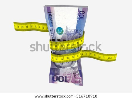 piles of 3D Rendered Philippines money with yellow measure tape isolated on white background