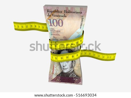 piles of 3D Rendered Venezuela money with with yellow measure tape isolated on white background