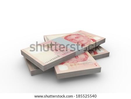 Piles of 3D Singapore money isolated on white background - stock photo