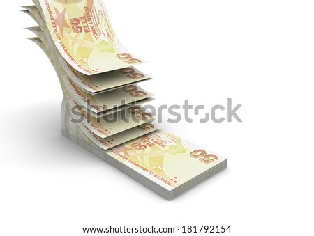 piles of 3D Turkish money falling and stacking in top of each other isolated on white background - stock photo
