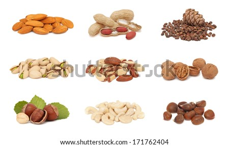 Piles of different nuts (groundnut, pistachio, hazelnut, almond, peanut, walnut, cashew, chestnut, cedarnut and brazil) collection isolated on white background - stock photo