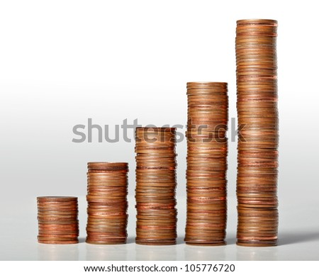 piles of euro cents coins - stock photo