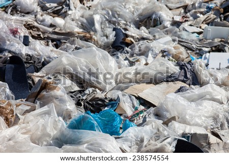 Piles of garbage on the city landfill - stock photo