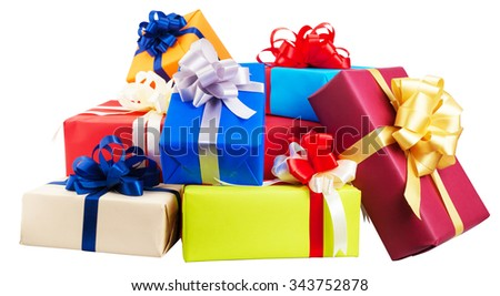 Piles of gift boxes wrapped in colorful paper, ribbon, bow ,on white. for anniversary, new year, birth day - stock photo