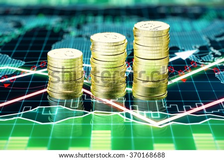 Piles of gold coins on the screen with business chart 3D Render - stock photo