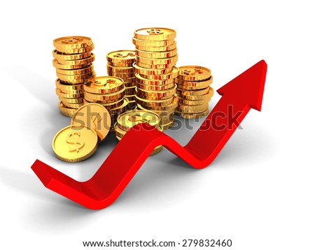 Piles Of Golden Dollar Coins With Growing Up Red Arrow. 3d Render Illustration - stock photo