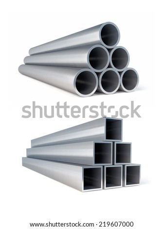 Piles of metallic pipes circle and square metal rollings. 3d rendered illustration. Isolated on white background. Clipping path included - stock photo