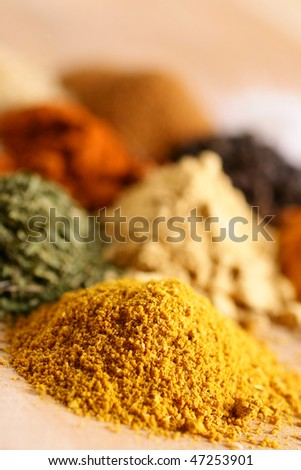 Piles of spices - stock photo