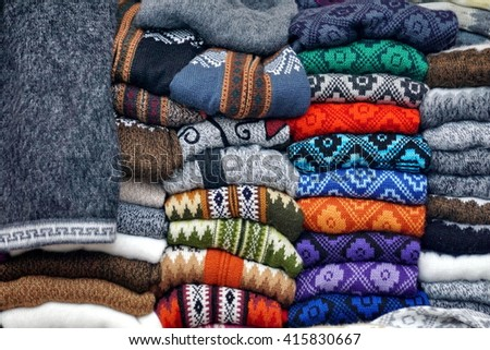 Piles of sweaters in the Otavalo Market