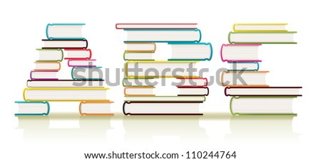 Piles of textbooks arranged to form three ABC letters of the alphabet - stock photo