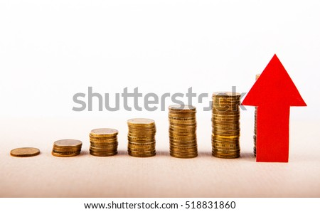 Piles of the Coins with Red Arrow Up