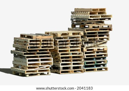 Piles of wooden pallets - stock photo