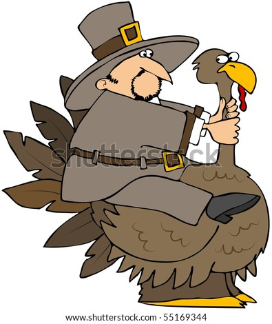 Pilgrim Riding A Turkey
