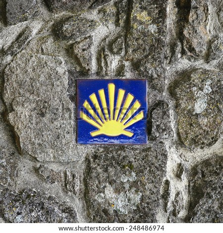 Pilgrim's Shell (scallop), Symbol of the Way of Saint James in Tui, Galicia, Spain. - stock photo