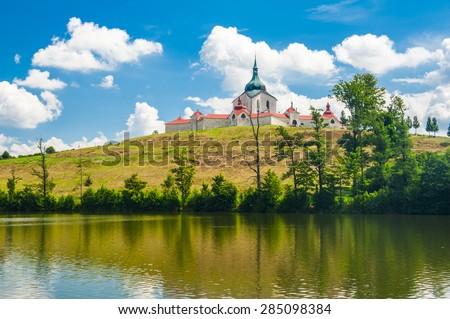 Pilgrimage church of Saint John of Nepomuk at Zelena Hora, Zdar nad Sazavou, Czech Republic is the final work of a famous baroque architect Jan Santini Aichel - stock photo