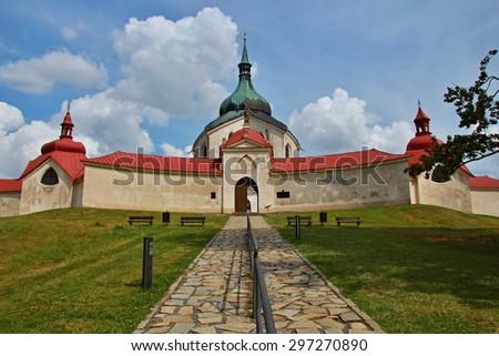Pilgrimage church of St. John of Nepomuk. Zdar nad Sazavou, Czech Republic - UNESCO world heritage, Europe  - stock photo