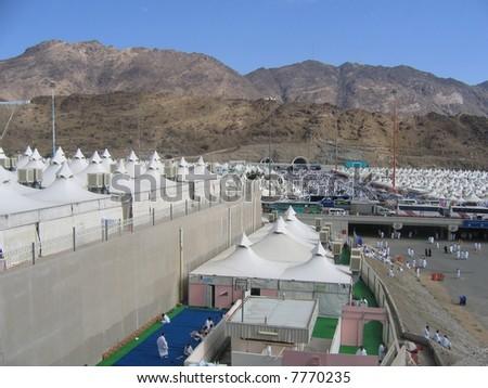 Pilgrims camp in Mecca - stock photo
