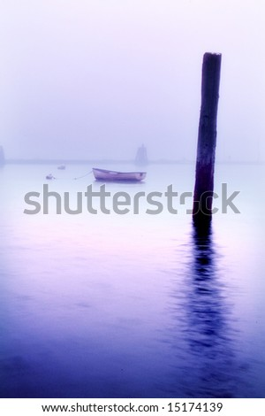 Piling in Mist - stock photo