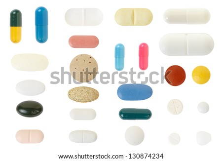 Pill and medical capsule collection isolated on white, clipping path included - stock photo