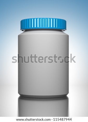 Pill Bottle on Blue Background the Chemical or Medical Concept - stock photo