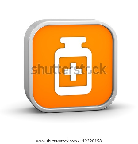 Pill Bottle sign on a white background. Part of a series. - stock photo