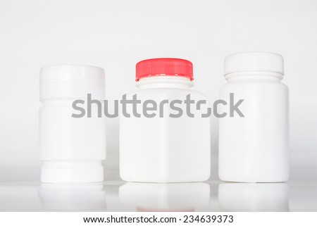 Pill Bottles on White Background