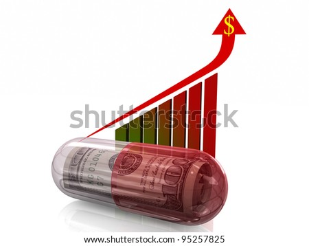Pill, Money in Pill, Health Care Rising Cost Concept, Arrow Showing Rising Cost.