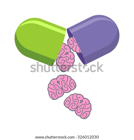 Pill with brains. Tablet for mind. Medical drug to increase IQ.   - stock photo