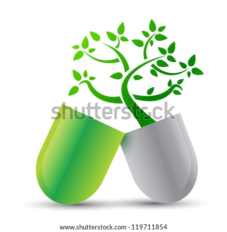 pill with nature ingredients illustration design over white - stock photo