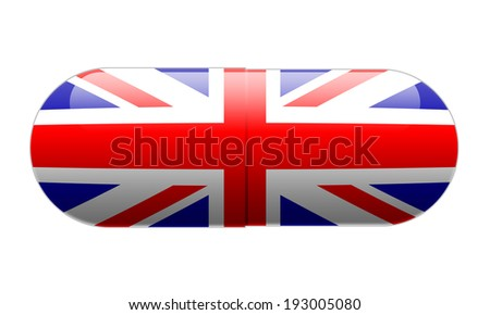 Pill wrapped in a Union Jack Flag - stock photo