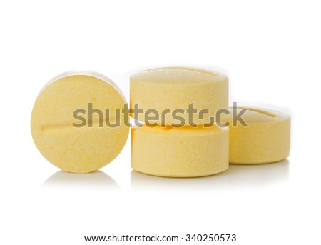 Pill yellow isolated on white background