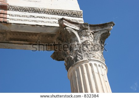 Pillar at Pompeii, Italy.  Date back to 79 AD. - stock photo