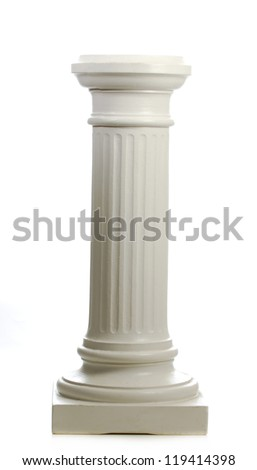 pillar isolated on white background with reflection - stock photo
