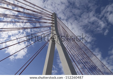 Pillar of the bridge suspended situated in Gdansk