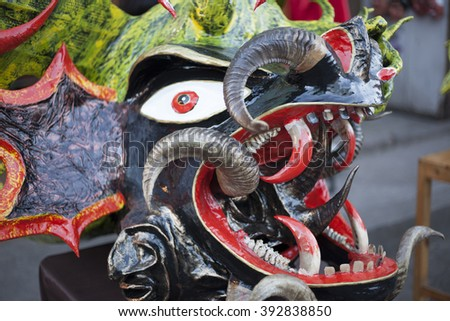 Pillaro, ECUADOR - FEBRUARY 6, 2016: Diabolic masks made by hand, are used by neighbors at the feast diabladas of Pillaro - stock photo