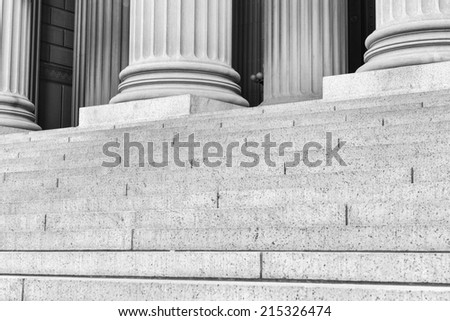 Pillars and Steps in Black and White