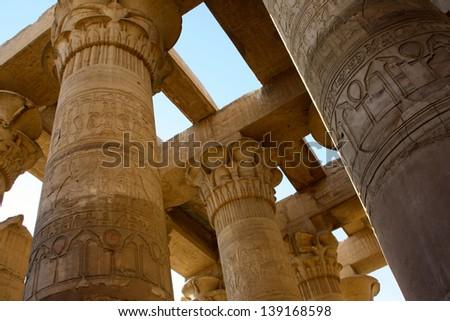 Pillars at Aswan Temple, Aswan, Egypt - stock photo