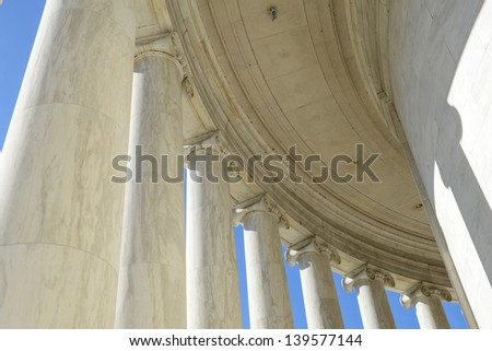Pillars at Jefferson Memorial Building - stock photo