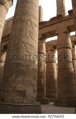 PILLARS AT TEMPLE OF KARNAK, LUXOR, EGYPT - stock photo