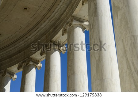 Pillars at the Jefferson Memorial - stock photo