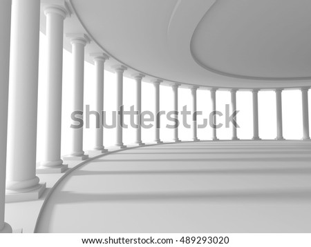 pillars columns design architecture background. 3d render illustration