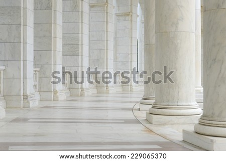 Pillars in a Hallway - stock photo
