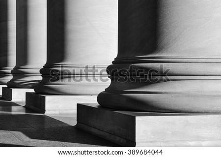 Pillars in Black and White - stock photo