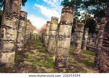 Pillars in the Temple of the warriors in Chichen Itza, Yucatan, Mexico - stock photo