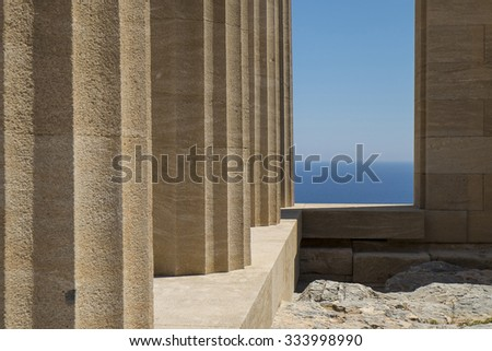 pillars of Acropolis in Lindos, Rhodes Island - stock photo